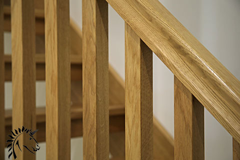 White Oak Stop Chamfered Balusters Square Stair