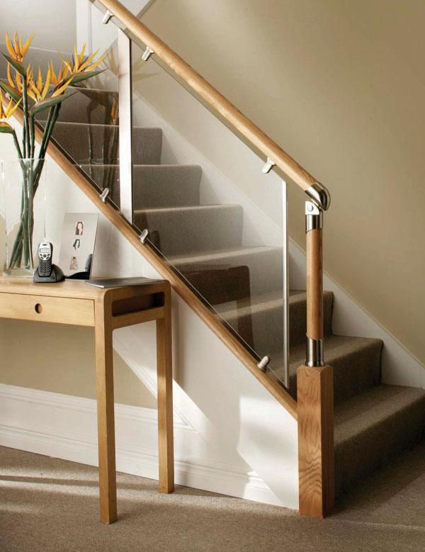 Lovely S Vision Glass Barade System Oak Handrails Stair Banister