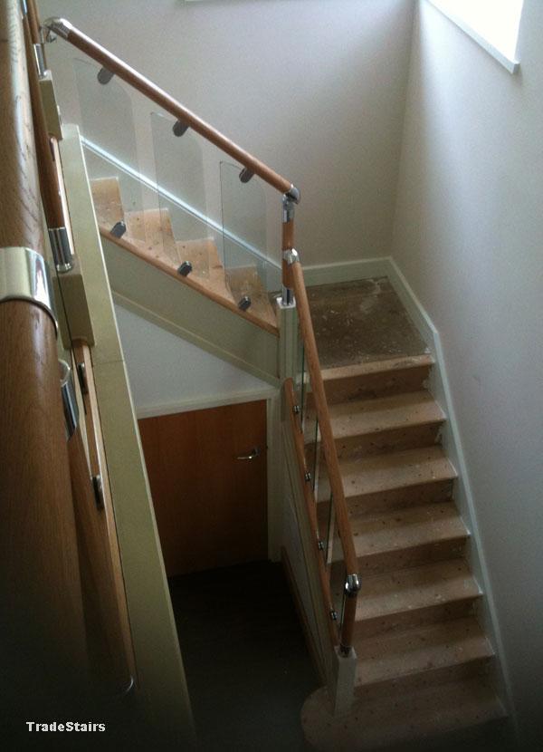 S Vision Glass Balustrade System Oak Handrails Stair