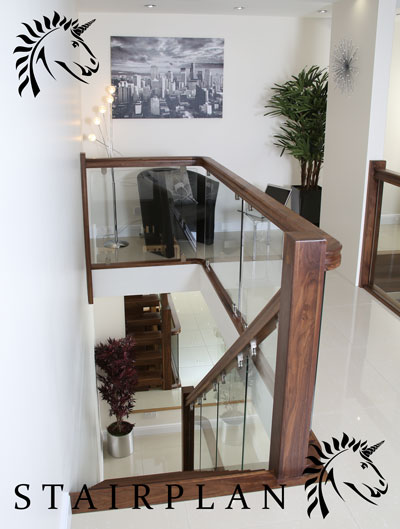 Walnut And Glass Stair Balustrades