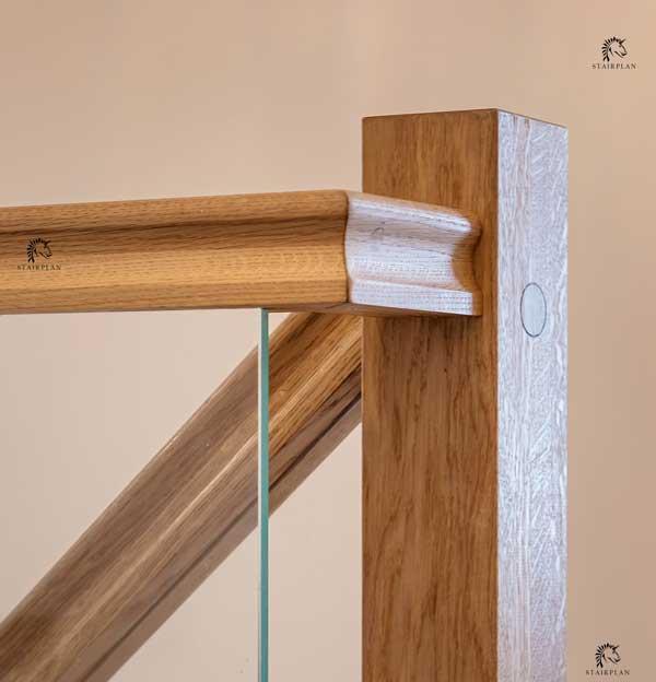 Houston White Oak Handrails Grooved For Glass