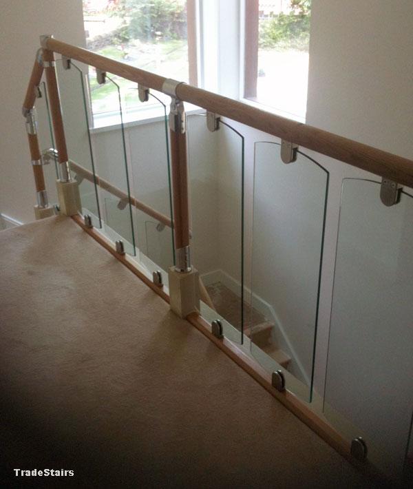 Glass Staircase Balustrade Kit: S-Vision Glass Balustrade System Oak Handrails