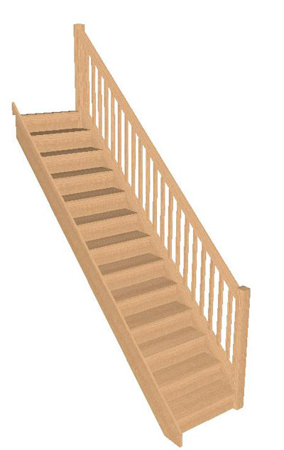 12 Riser Straight Staircase In Oak With Handrail R/H