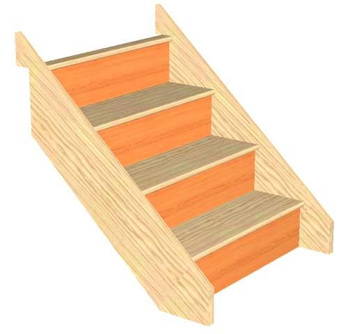 Craftsmans Pine 4 Riser Straight Staircase