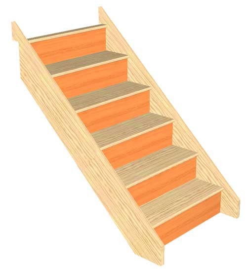 6 Riser Straight Staircase Pine strings Pine Treads Plywood risers