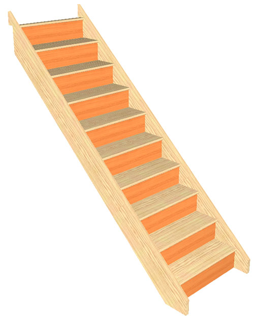 Craftsmans Pine 10 Riser Straight Staircase