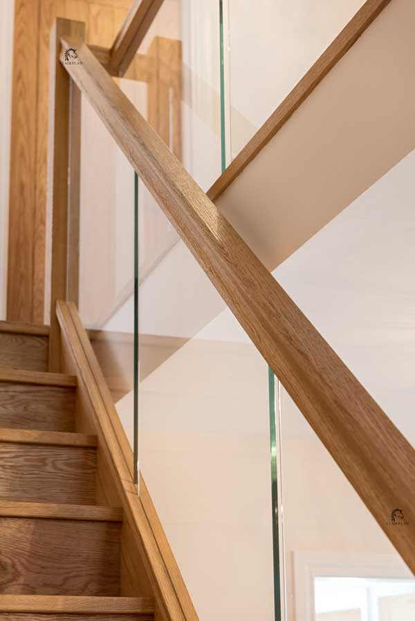 Houston White Oak Handrails Grooved For Glass
