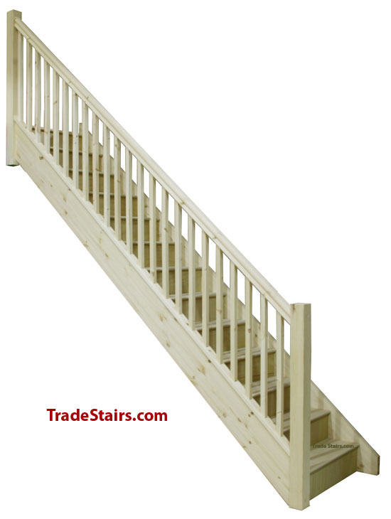 Stairs order a straight flight staircase with handrails for Stair designer online