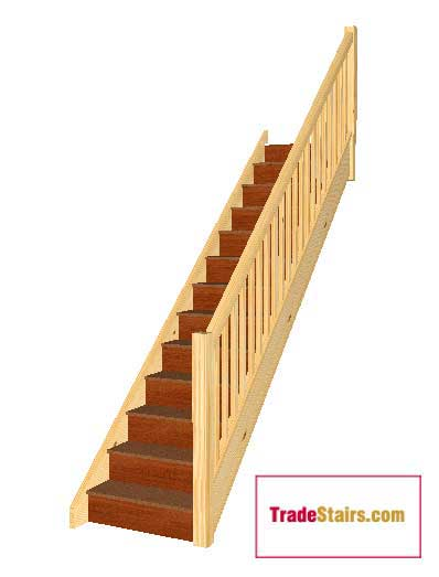 12 Riser Straight Staircase With Handrails On The Right