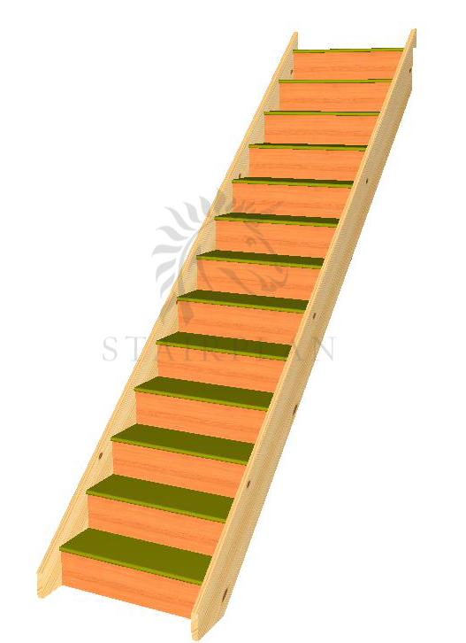13 Riser Straight Staircase Pine Strings MDF Treads Plywood Risers