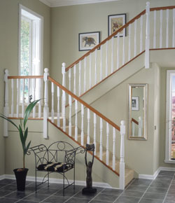 Ideas White Primed Stair Parts Painted With A Coat Of Primer Richard